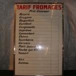Tarif des fromages